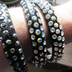 Set of 3 Black Lucite and Rhinestone Bangles